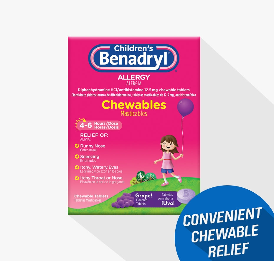 Children's BENADRYL® Grape Flavored Chewable Tablets